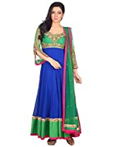 Myra Women's Georgette Semi-Stitched Salwar Suit (MY-003, 40 Inches, Blue)
