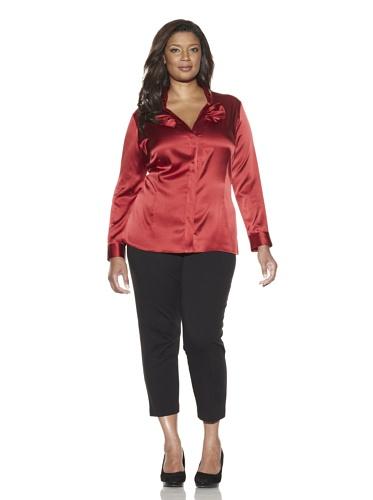 Z from Zenobia Women's Plus Bow-Front Silk Shirt (Crimson)