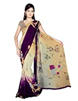Sonal Trendz Beige & Purple Color Printed Georgette Saree with Blouse