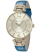 Anne Klein Women's 10/9168CHTE Gold-Tone and Teal Leather Strap Watch