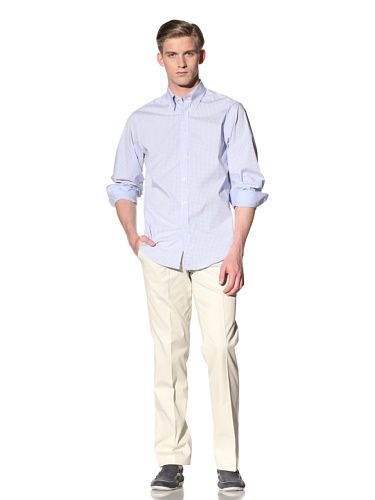 Report Collection Men's Gingham Button-Front Shirt (Light Blue)