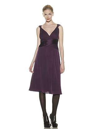 Catherine Malandrino Women's Cocktail Dress with Crisscross Ruching (Purple)
