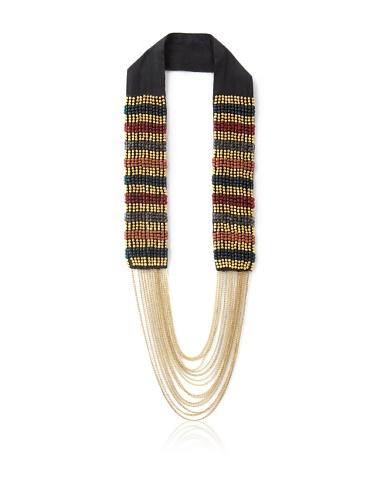 La Croix Rousse Beaded Chain Necklace, Gold/Red
