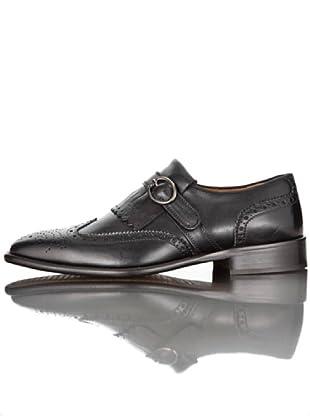 British Passport Zapatos Lengüeta y Hebilla (Negro)