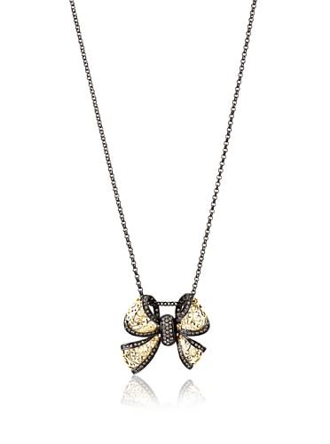 Courtney Kaye Fauna Filigree Bow Pendant, Gold/Hematite