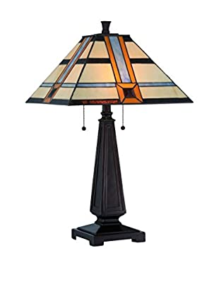 Lite Source Vienna 2-Light Table Lamp, Dark Bronze/Multi