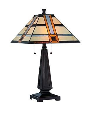 Lite Source Vienna 2-Light Table Lamp, Dark Bronze/Multi
