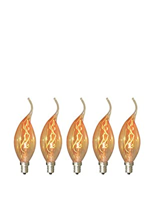 Bulbrite Set of 5 Nostalgic Flame Tip Chandelier Bulbs, 15-Watts