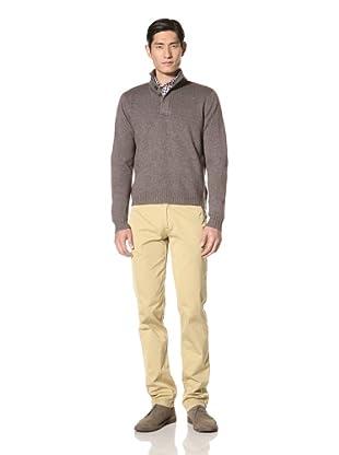 Borgo28 Men's Button Mock Sweater (Taupe)