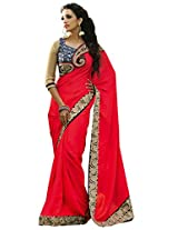 Charu Boutique Red Crepe Saree