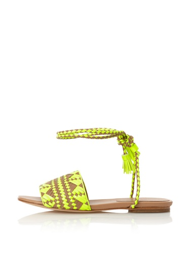 Rebecca Minkoff Women's Baha Wrap-Up Flat Sandal (Neon Yellow/Natural)
