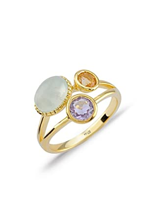 Divas Diamond Anillo Amethyst Brazilian, Citrine &Prehinite