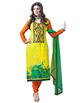 Admyrin Women's Cotton Embroidered Yellow Salwar Kameez