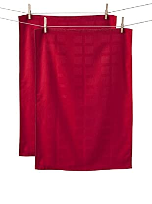 KAF Home Set of 2 Solid Towels, Red