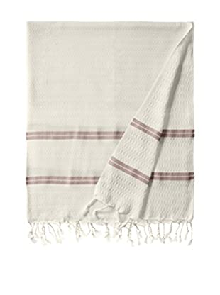 Nomadic Thread Handwoven Towel Pique, Natural/Burgundy