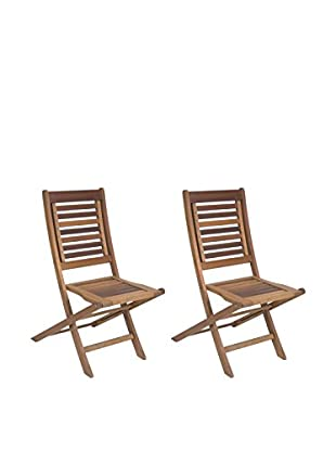 Amazonia Set of 2 Parati Eucalyptus Folding Chairs, Brown