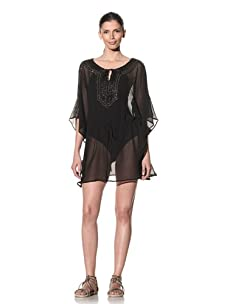 Tikka Women's Sheer Tunic With Cut-Out Sleeves (Black)