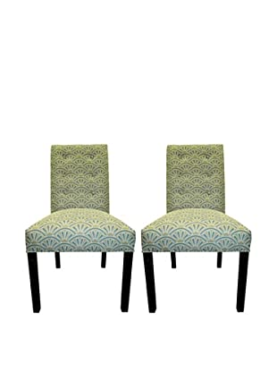 Sole Designs Kacey 6 Button Tufted Pair of Dining Chairs, Bonjour Capri