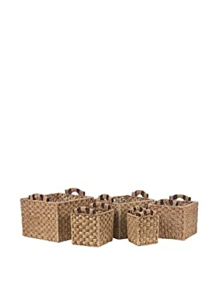 Skalny Set of 5 Seagrass and Wood Storage Baskets