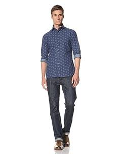 Orian Men's Daisy Print Shirt (Blue)