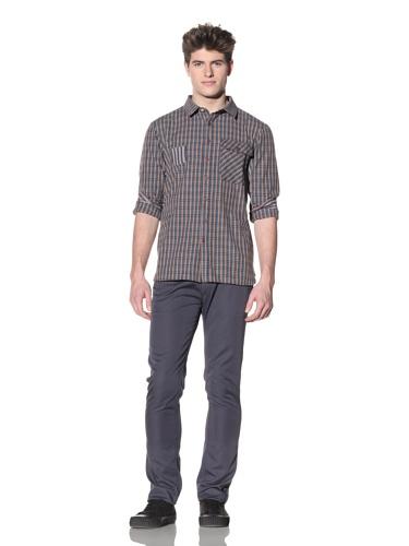 ZAK Men's Contrast Plaid Woven Shirt (Teal/Purple)