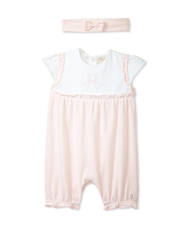Emile et Rose Baby Girl's Stretch Bow Romper with Hairband (Pale Pink)