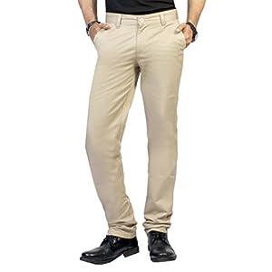 Louppee Men's Cotton Flat Front Trousers (Lp1004Bg-40 _Biege _40)