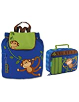 Stephen Joseph Boys Quilted Monkey Backpack and Lunch Box for Kids
