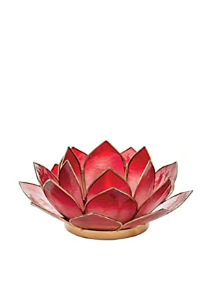 Torre & Tagus Lotus Capiz Shell Tealight Holder, Crimson