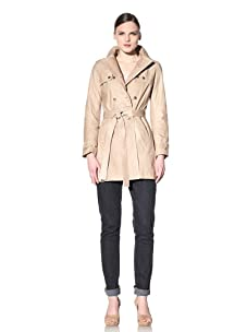 Hare + Hart Women's Washed Leather Trench (Sand)