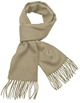 Dahlia Men's Winter Wool Blend Scarf - Classic Solid Color - Tan