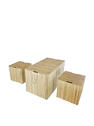 ZEW, Inc. Set of 3 Outdoor Bamboo Trunks