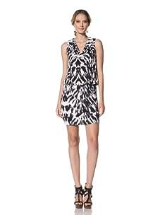 Kenneth Cole Women's Abstract Zebra Print Dress (Black Combo)