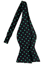 Retreez Classic Polka Dots Woven Microfiber Self Tie Bow Tie - Black with Green Dots