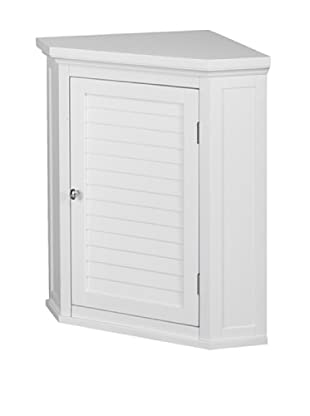 Elegant Home Fashions Slone Corner Wall Cabinet with Shutter Door, White