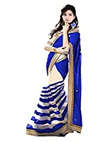 Vibes Women's Georgette Saree, With Blouse (S52-11002_Blue)