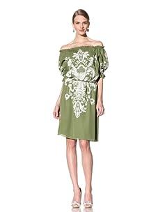 Naeem Khan Women's Off-The-Shoulder Embroidered Peasant Dress (Olive)