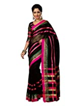 Paaneri Black Colorur with Pink Strips Blended Cotton Saree_15111109502