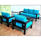 Furny Solid Teak Wooden Sofa Set 3+1+1 - Blue