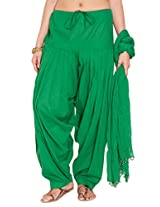Stylenmart Ladies Green Cotton Regular Fit With Dupatta Dupatta Patiala Set