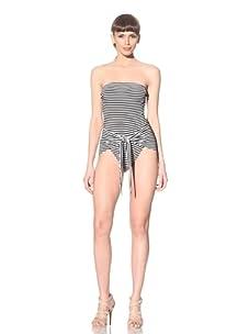 Norma Kamali Women's Strapless Wrap & Tie Swimsuit (Black/White)