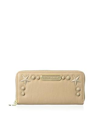 Betsey Johnson Women's Totally Tonal Zip Around Wallet, Tan