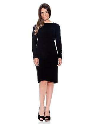 Caramelo Vestido Escote Barco (Negro)