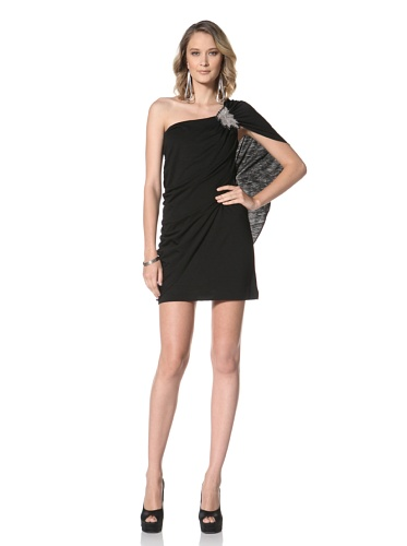 Paul & Joe Women's Yvette One Shoulder Kimona Dress (Black)