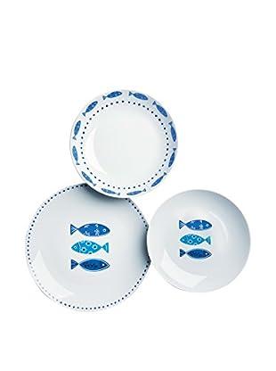 Soul Kitchen Geschirr 18er Set Ocean weiß/himmelblau
