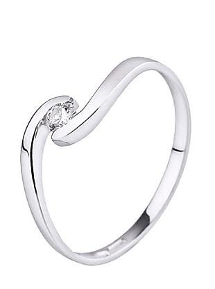 Design Diamond Anillo Boucles Rails Oro Blanco 0.08 Cts