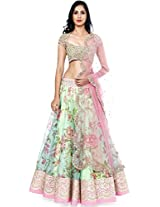 Khushali collection Women's Georgette white lehenga