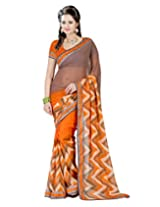 Lookslady Printed Grey Georgette Saree For Women