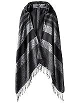 RAMPAGE Women's Striped Blanket Wrap with Hood