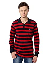 Allen Solly Leisure Sport Striped Red T-Shirt With Zipper